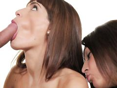 Skinny Brunettes Hammered In A Hardcore Threesome