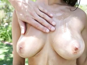 Oiled Babe On The Trampoline Fucked By His Big Dick