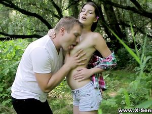 Beauty Rides Her Boyfriend In The Middle Of The Woods