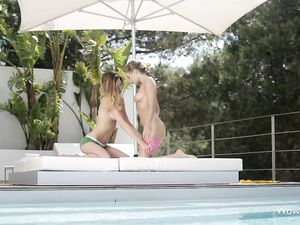 Sporty Chicks Rub Baby Oil All Over Each Other Poolside