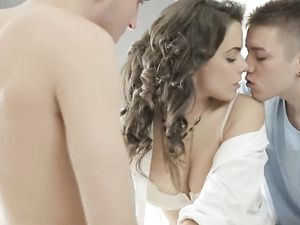 Teen Brunette Fucking Two Guys In A Hot Threesome