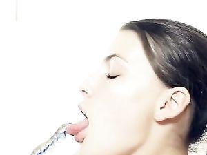 Brunette Babe Solo Masturbating With A Dildo