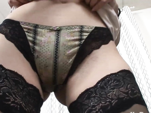 Lingerie Girl Handles A Big Cock With Her Asshole